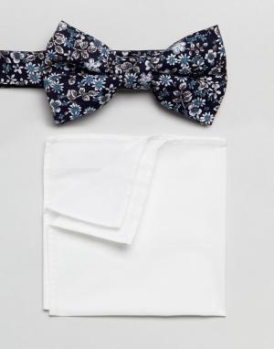 MOSS BROS Галстук-бабочка и платок-паше с цветочным принтом London. Цвет: темно-синий