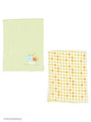 Трикотажные пелёнки (2 шт.) Spasilk. Цвет: зеленый, желтый