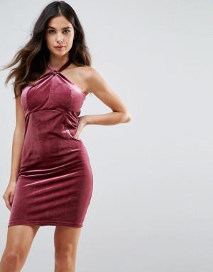 WYLDR Бархатное платье мини Isabelle. Цвет: розовый