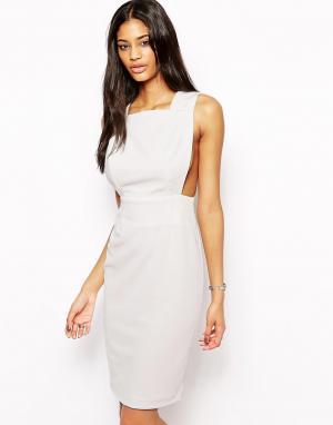 AQ Платье миди с вырезом сзади Karla. Цвет: кремовый