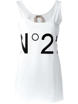 Топ с принтом-логотипом Nº21. Цвет: белый
