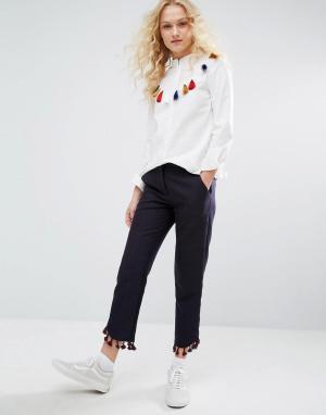 I Love Friday Укороченные брюки с бахромой по низу. Цвет: фиолетовый