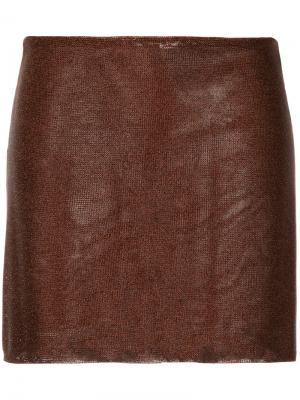 Мини-юбка по фигуре Kacey Devlin. Цвет: коричневый