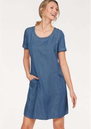 Джинсовое платье CHEER. Цвет: джинсовый синий