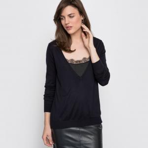 Пуловер с длинными рукавами 2 в 1 La Redoute Collections. Цвет: темно-синий