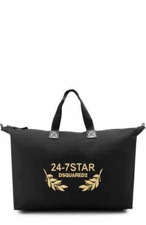 Текстильная дорожная сумка с вышивкой канителью и отделкой из натуральной кожи Dsquared2. Цвет: черный
