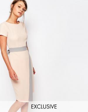 Closet London Платье миди 2 в 1 с запахом на юбке и контрастной отделкой. Цвет: мульти