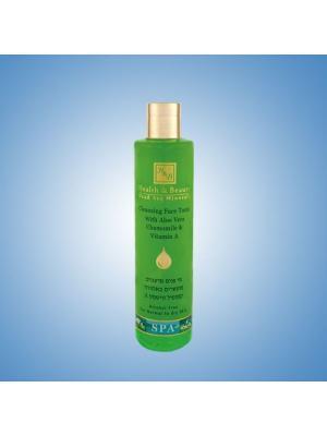 Тоник для лица Health & Beauty очищающий с Алое Вера, ромашкой и витамином А, 250мл. Цвет: светло-зеленый