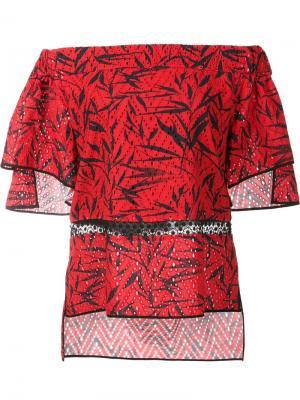 Блузка с открытыми плечами Prabal Gurung. Цвет: красный