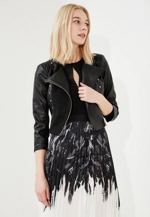 Куртка кожаная Elisabetta Franchi. Цвет: черный