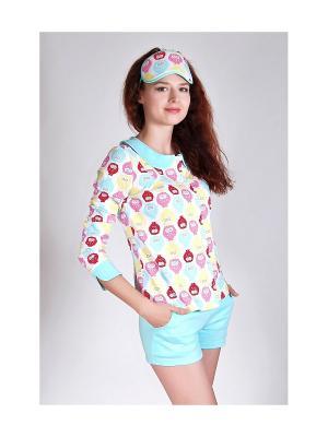 Пижама женская Косичкина. Цвет: голубой, белый, желтый, малиновый, розовый, черный
