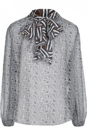 Полупрозрачная шелковая блуза с воротником аскот Diane Von Furstenberg. Цвет: разноцветный