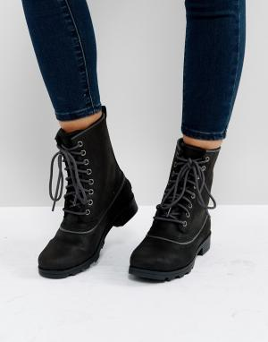 Sorel Черные водонепроницаемые кожаные ботинки Emelie 1964. Цвет: черный