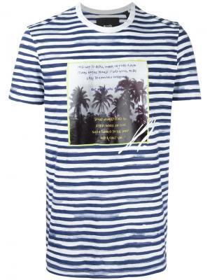 Полосатая футболка с принтом пальм Blood Brother. Цвет: синий