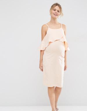 ASOS Maternity Платье миди для беременных с открытыми плечами. Цвет: розовый
