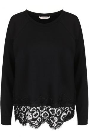 Пуловер прямого кроя с кружевной отделкой Dorothee Schumacher. Цвет: черный