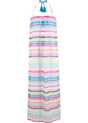 Пляжное платье (белый/бирюзовый/ярко-розовый/лиловый в полоску) bonprix. Цвет: белый/бирюзовый/ярко-розовый/лиловый в полоску