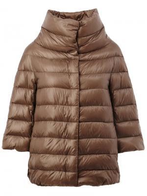 Куртка-пуховик с укороченными рукавами Herno. Цвет: коричневый