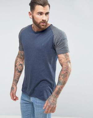 Ringspun Меланжевая футболка с рукавами реглан. Цвет: темно-синий