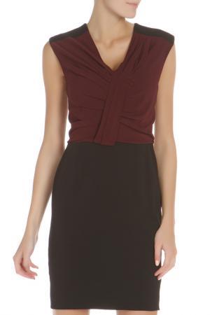 Приталенное платье с V-образным вырезом Liu Jo. Цвет: бордовый, черный