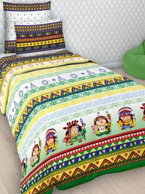 Детский комплект постельного Индейцы, 1,5-спальный, наволочка 50*70, хлопок Letto. Цвет: зеленый, желтый, красный