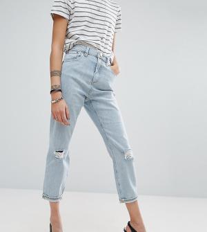 ASOS Petite Выбеленные джинсы в винтажном стиле с рваными коленями. Цвет: синий