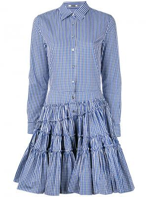 Клетчатое платье с пышной юбкой Jourden. Цвет: синий
