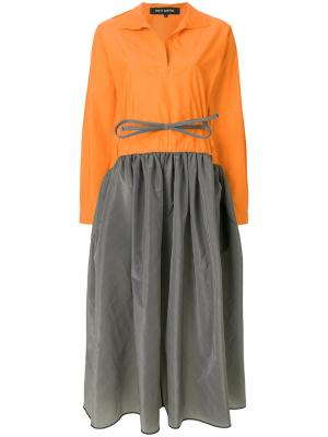 Юбка-миди дизайна в двух тонах Ter Et Bantine. Цвет: жёлтый и оранжевый