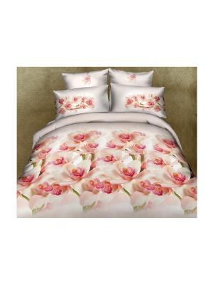 Постельное белье Ideal 1,5 сп. Buenas Noches. Цвет: молочный, розовый