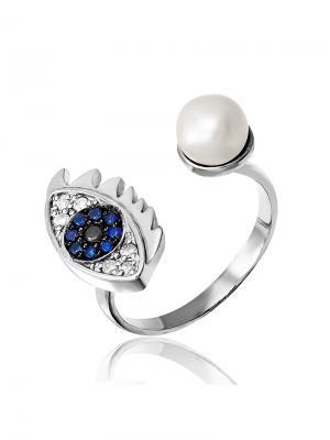 Стильное кольцо с жемчугом KU&KU. Цвет: черный, белый, синий