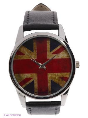 Часы Потертый британский флаг Mitya Veselkov. Цвет: черный, серебристый, красный