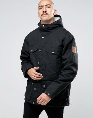 Fjallraven Черная зимняя куртка Greenland. Цвет: черный