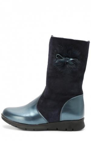 Замшевые сапоги с декором и внутренней отделкой из натурального меха Clarys. Цвет: синий