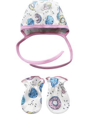 Комплект (чепчик, антицарапки) Nice cat. Цвет: молочный, голубой, розовый
