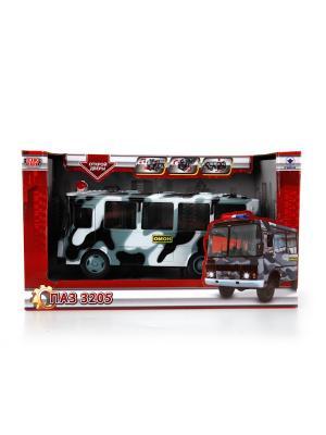 Автобус Технопарк пластмассовый, инерционный, свет, звук ПАЗ. ОМОН.. Цвет: серый,черный