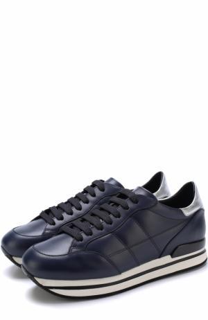 Кожаные кроссовки на шнуровке Hogan. Цвет: синий