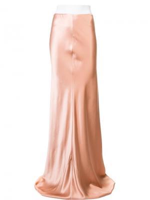 Юбка макси с завышенной талией Galvan. Цвет: розовый и фиолетовый