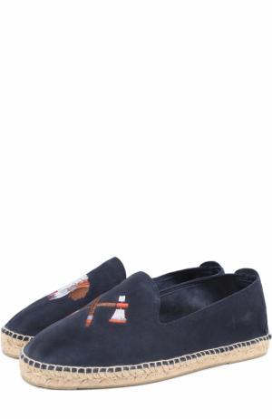 Замшевые эспадрильи с вышивкой Manebi. Цвет: темно-синий