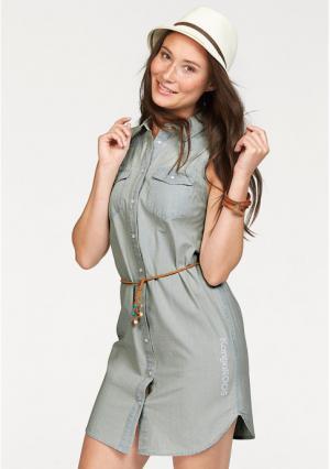 Платье-рубашка Kangaroos. Цвет: светлый деним варенка