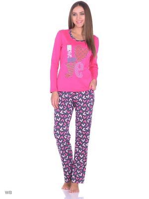 Комплект домашней одежды ( лонгслив, брюки) HomeLike. Цвет: фуксия