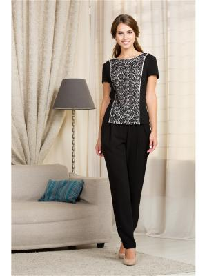 Блузка KEY FASHION. Цвет: черный, светло-серый