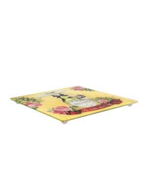 Подставка для горячего стеклянная на силиконовых ножках 20х20 см  Южная красавица Orval. Цвет: зеленый, розовый