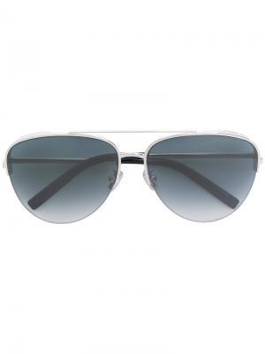 Солнцезащитные очки-авиаторы с кристаллами Boucheron. Цвет: металлический