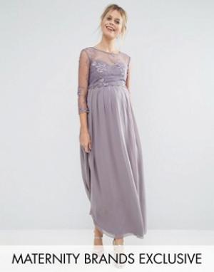 Little Mistress Maternity Платье макси для беременных с цветочной аппликацией Ma. Цвет: серый