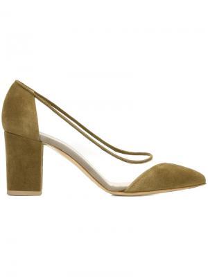Туфли с сетчатой вставкой Bionda Castana. Цвет: зелёный