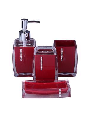 Набор для ванны 4 предмета: дозатор, подставка зубных щеток, стакан, мыльница PATRICIA. Цвет: красный