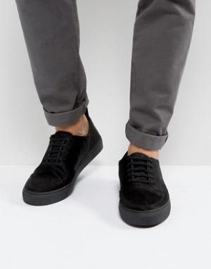 Blood Brother Черные кроссовки с ворсом пони Asura. Цвет: черный
