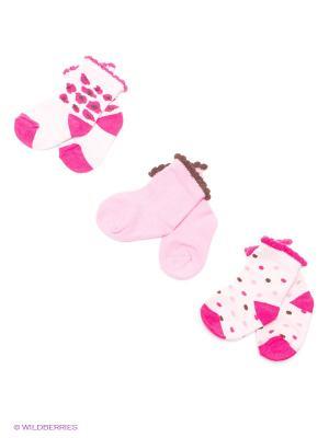 Носки, 3 пары Luvable Friends. Цвет: розовый