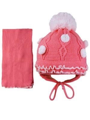 Шапка и шарф Grans. Цвет: малиновый