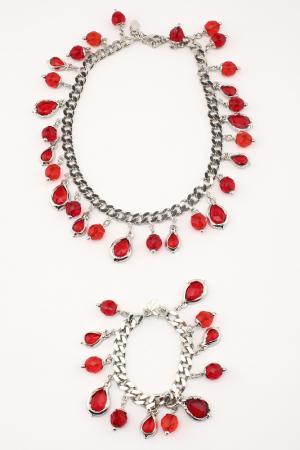 Набор I Pavoni. Цвет: серебро, камни красные